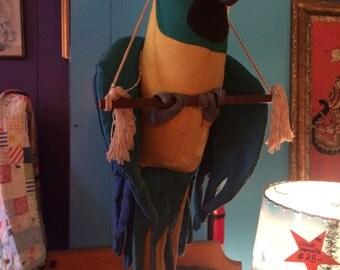 Vintage Parrot. Hanging Parrot. Tropical Bird.
