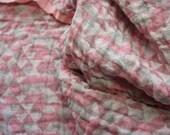 Georgeous Linen  geometric Pattern--Luxury Linen Fabrik--Double face--3D effect in pink colors range