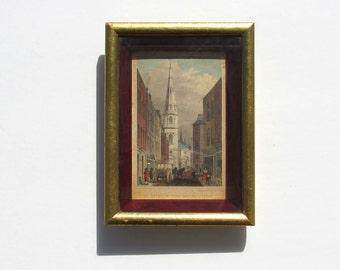 1820s Framed Engraving, By Shepherd, St. Antholin From Watling Street, London
