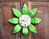 Vintage Chippy Repurposed Tin Ceiling Flower with Green Petals