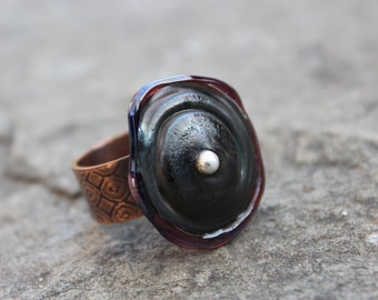 Copper and Lampwork Bead Ring, Size 9 to 9.5