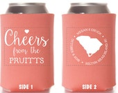 Personalized Wedding Favors - Cheers State Coozie Rustic Wedding - Can Coolies - Engagement Party Favors - Wedding Coolies