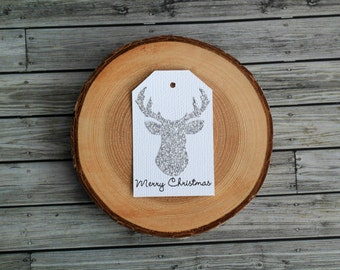 Silver Glittered Reindeer Head Rustic Merry Christmas Gift Tags