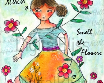 Happy Spring Wall Art, Whimsical Digital Download, Spring Time Print, Wall Hanging Print, Hand Drawn Art, Original Design Art, Spring Fun
