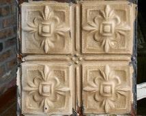 """Genuine Antique Ceiling Tile -- 12"""" x 12"""" -- Chippy Honey Colored Paint -- Pretty Design"""