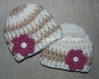 Chunky baby hats - twin girl hats - twins photo prop - baby shower gift - bringing baby home - made to order