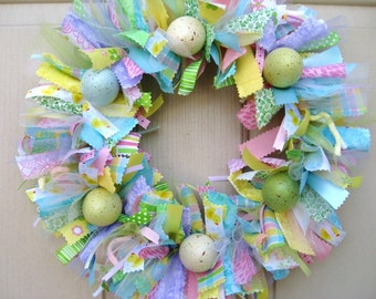 Easter Wreath, Easter Egg Wreath, Spring Wreath, Easter Decoration, Ribbon Wreath, Fabric Wreath for Spring, Spring Door Decor