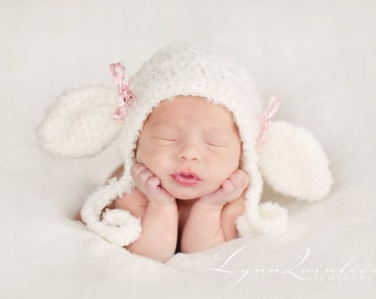 IN STOCK Newborn Lil' Lamb bonnet, Baby Lamb hat, baby sheep hat - photo prop