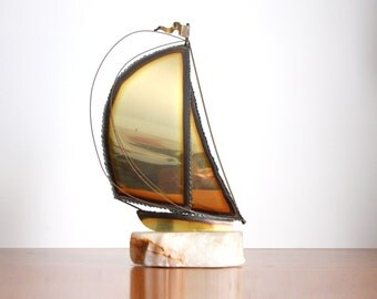 Mid Century Modernist Brass Ship on a Marble Stand. Jere Era 70s Ship Statue.