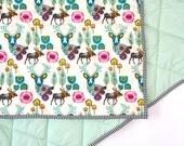 Woodland nursery quilt -JEWEL WOODLAND- nursery blanket- mint purple nursery bedding- woodland baby blanket- baby shower gift- baby blanket
