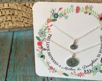 Mother Daughter Necklace Set, Flower Mother Daughter Jewelry, Mommy Necklace,  Mother Daughter Gift Set, Sterling Silver