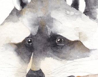 Little Bear RACCOON  aceo watercolor giclee PRINT spirit totem animal native american - Free Shipping