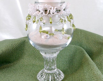 Glass Candleholder, Floral Vase, Victorian Style, Pedestal Candleholder, Vintage Decor, Holiday Decor, Green Beading Vase, Holiday Gift
