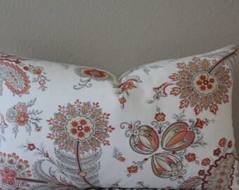 "SET Of TWO - 12"" x 20"" Lumbars - Kravet Cottingham Jacobean Floral Print in Coral - Decorative Designer Pillow Covers"