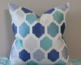 "NEW Ikat Print - 18"" x 18""  Decorative Designer Pillow Cover - Turquoise, Light Lapis Blue, Light Grey and Off White"
