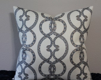 """Front Only or BOTH SIDES - Robert Allen Dwell Studio - Snake Chain Print in Dove - 16"""" - 24"""" Square Designer Pillow Cover"""