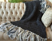 Decor Throw Blanket Afghan in Charcoal Blanket Dark Grey Blanket with White, Silver, Gold, Grey Throw Blanket Afghan Charcoal Grey