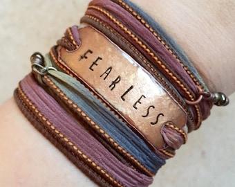 Silk wrap bracelet- FEARLESS- Boho Silk Wrap Bracelet- yoga wrap- fearless bracelet- boho- Boho wrap- fearless wrap bracelet