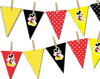 Mickey Mouse Banner, Mickey Mouse Printable Party Banner, Happy Birthday Pennant Banner, Photo Prop - Instant Download - DP376