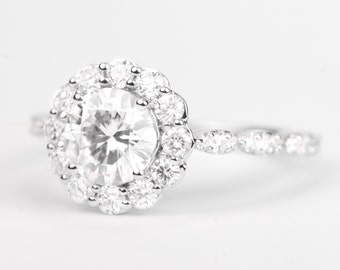 CERTIFIED - Colorless Forever ONE Round Moissanite & Diamond Flower Halo Engagement Ring 14K White Gold