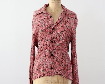SALE 1970s Dusenbery shirt,  vintage pink floral button down shirt