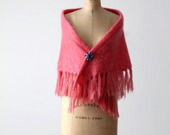 vintage mohair shawl, pink Glentana wool wrap