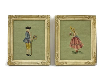 Pair of Framed Needlepoint - Needlepoint Pictures,  Framed Needlepoint, Wall Hangings, James Lee & Sons Co., Vintage Home Decor, c.1950