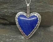 Blue Lapis Heart Pendant, Sterling Silver, Lapis Gemstone, Valentine Gift, Blue Heart Pendant, Handmade, Southwestern Style, Lapis Lazuli
