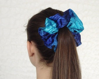Royal Blue and Turquoise Silk  Scrunchie or Scarf Clip