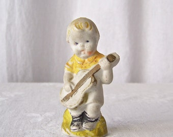 Vintage Bisque Boy Shabby Cottage Decor Porcelain Boy Figurine Playing Guitar 1950's