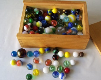 Vintage Box Of Marbles Eddie Bauer Marble Collection Box Catseye Clearies Small Large Shooters Agates Over 100 Marbles 1970s