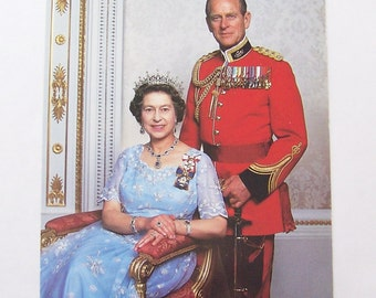 Vintage Postcard Her Majesty The Queen The Duke of Edinburgh British Royalty Photo Post Card 1980s Unused