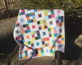 Modern Quilt,Minky Back,Patchwork,Crib Quilt,Lap Quilt,Baby Girl,ReadyTo Ship,White,Minky,Black,Dots,Pink,Purple,Yellow,Turquoise,Blue,Dots