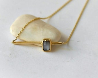 14K Gold Necklace with Moonstone-14K Solid Gold- Handmade Jewelry- Free Shipping Worldwide