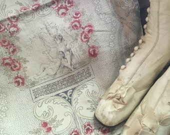 Romantic c1800 Antique French Hand Blocked Linen Toile Fabric Panel Chubby Cherubs Angel Pink Roses Scrolls Dove S70