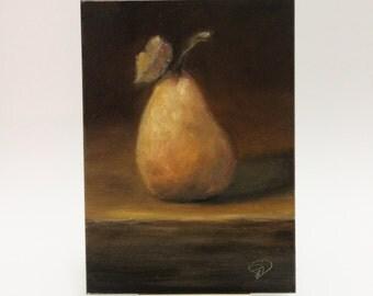"""Small Original Oil Painting """" Pear """" Fruit Still Life"""