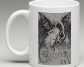 Alice in Wonderland Coffee Mug - Jabberwocky, Tim Burton Inspired, proceeds to Alzheimer's Association