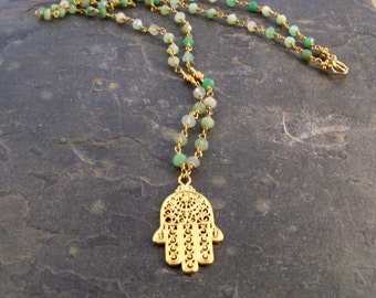 Hamsa & Chrysoprase Necklace-Gemstone Necklace-Gift