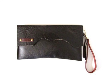 Raw Edge Leather Clutch Leather wristlet Leather bag