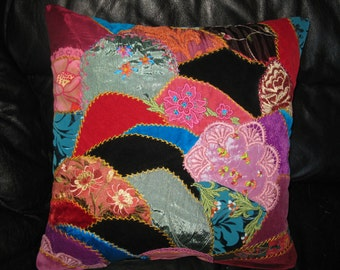 Embroidered  Crazy Quilt Pillow cover.Unique Fiber Art Work. Velvet cushion.Victorian style. 18x18 inches