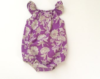 Purple Peony Floral Bubble Romper 0-3m RTS