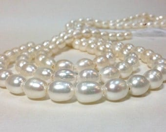 10 x 11 to 12 mm Large Hole Freshwater Pearl Rice Beads - White 2 mm hole (ET9009W75)