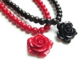 Black or Red Glass Pearl Necklace with Rose Pendant