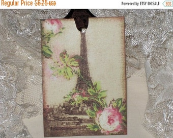 Christmas in July Vintage Spring Eiffel Tower Gift Tags ECS Tattered Vintage Style