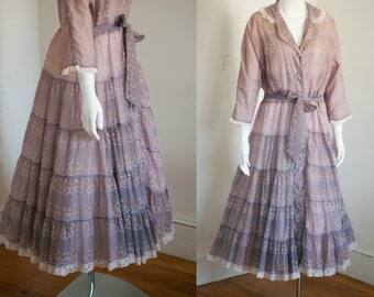 Vintage 1940s 1950s Dressing Gown Hostess Dress Dusty Rose Pink Ombre Bows Full Skirt XL