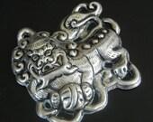 20% WINTER SALE Tibetan Silver Foo Dog Pendant / Jewelry Supply