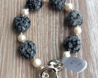 Snowflake Obsidian and Fresh Water Pearl Bracelet UK Made Semi Precious Stones