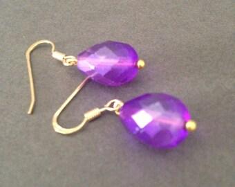 Purple drop earrings