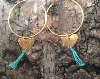 Turqouise gold heart hoops