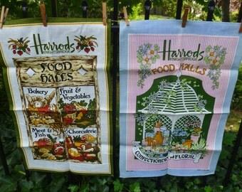 2 Harrods London Tea Towels. Ulster, Irish Linen. Vintage 1970s. Food Hall. Unused Dish Towels, Kitchen Decor, Wall Art, England Souvenir.